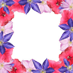 Fototapete - Beautiful floral pattern of petunia and clematis. Isolated