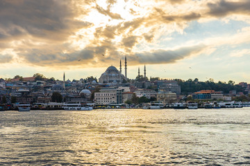 Istanbul cityscape skyline at sunset in Istanbul, Turkey