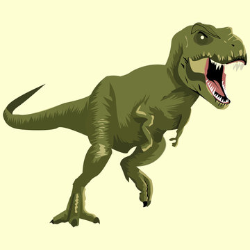 Green dinosaur picture on a white background