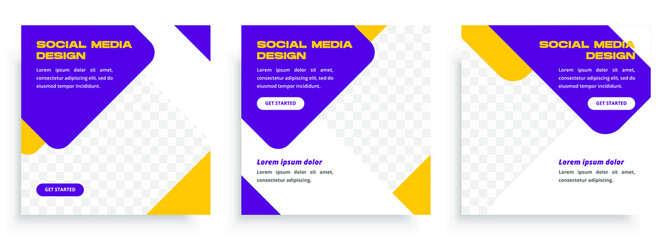 Social media post templates set with purple color. Promotion Brand Fashion. Stories. Streaming. Modern promotion square web banner for social media mobile apps