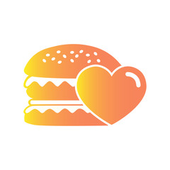 Simple picture of hamburger with hearts on a white background