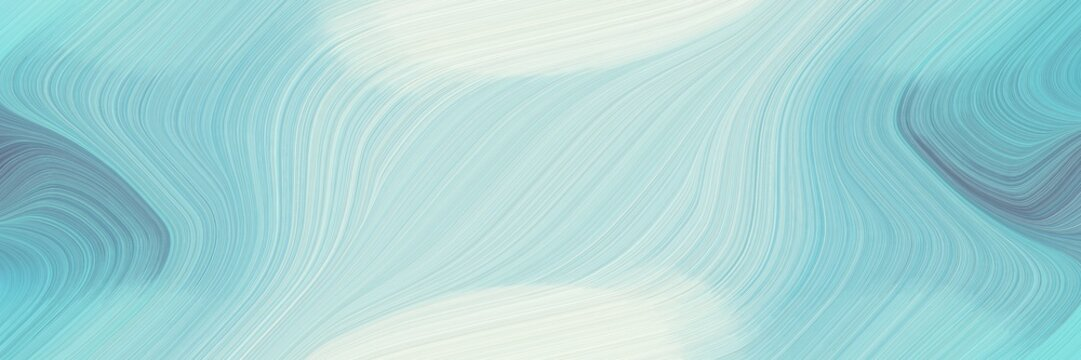 surreal banner design with light blue, beige and cadet blue colors. fluid curved lines with dynamic flowing waves and curves