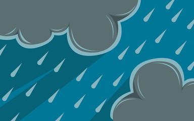 Cloud and rain  rainy season  vector design   illustration. Fotobehang