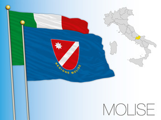 Molise official regional flag and map, Italy, vector illustration