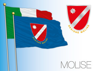 Molise official regional flag and coat of arms, Italy, vector illustration