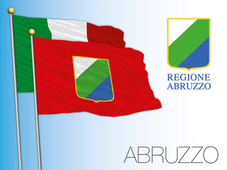 Abruzzo official regional flag and coat of arms, Italy, vector illustration