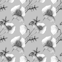 Seamless monochrome pattern with the image of black and white poppies on a gray background. Design for packaging, textile, wallpaper, fabric.