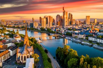 Frankfurt am Main. Cityscape image of Frankfurt am Main at sunset. Aerial view Fotomurales