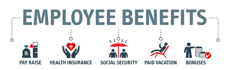 Employee Benefits Icon Concept on white background