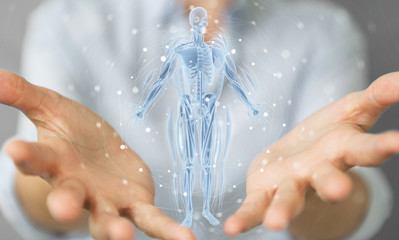 Woman using digital x-ray human body holographic scan projection 3D rendering