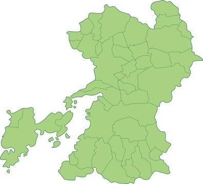 熊本県の地図_市町村ごとに色を変えられます