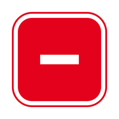 Square red minus sign icon, button. Flat remove, negative symbol isolated on a white background. EPS10 vector file