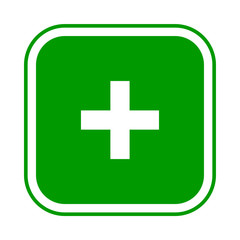 Square green plus sign icon, button. Flat add, positive symbol isolated on a white background. EPS10 vector file