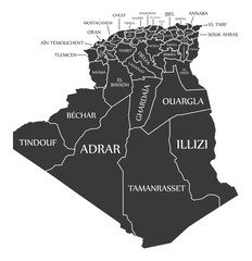 Algeria map with provinces labels black