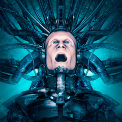 Trapped in my own reality / 3D illustration of science fiction scene with terrified man encased in mechanical virtual reality suit