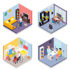 Disabled People Isometric 2x2 Set