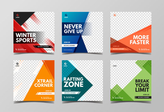 Sport square banner template. Promotional banner for social media post, web banner and flyer