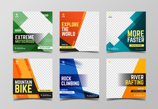 Extreme sport social media post template. Adventure, mountain climbing and motocross banner