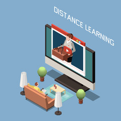 Distance Learning Isometric Design Concept