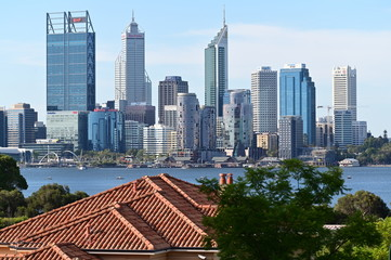 Perth  financial district skyline as view from the Swan river south bank