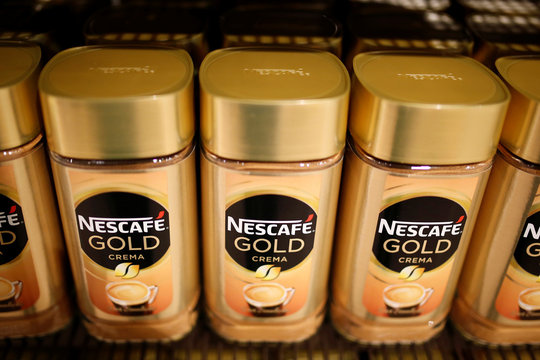 Jars of Nescafe Gold coffee by Nestle are pictured in the supermarket of Nestle headquarters in Vevey