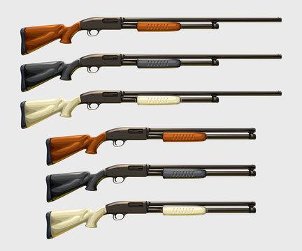 realistic shotguns set on white