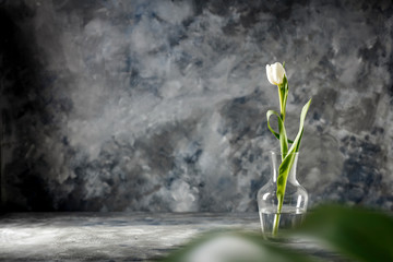 Wall Mural - Fresh spring flowers and dark mood interior