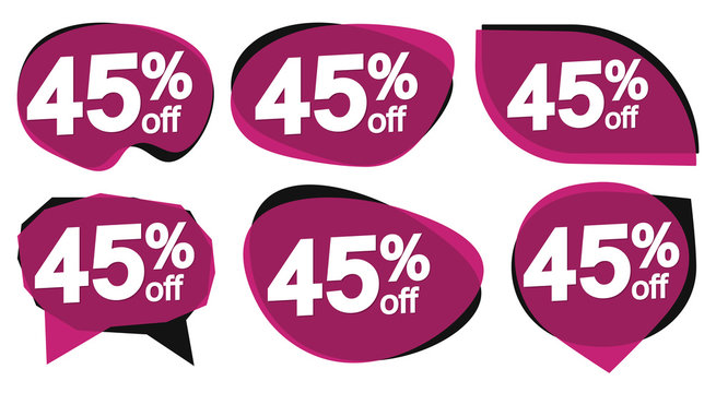 Set Sale 45% off bubble banners, discount tags design template, vector illustration