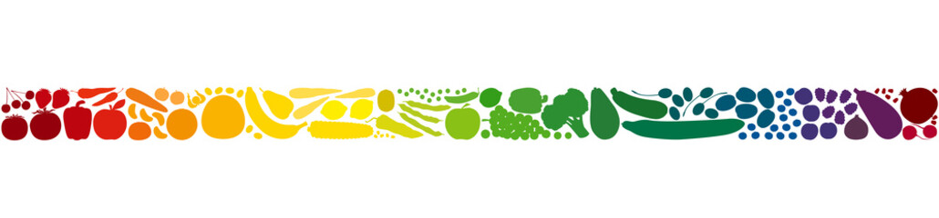 Papiers peints Cuisine Colorful fruits and vegetables in a rainbow gradient colored row. Seamless extendable horizontal stripe. Isolated vector illustration on white background.