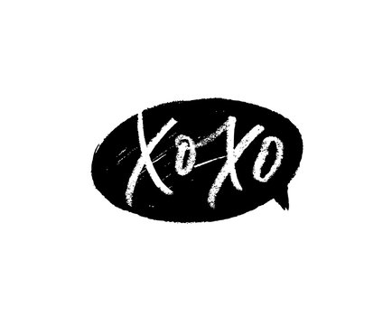 Xo Xo phrase for Valentine's day. Hand drawn vector brush calligraphy. Black grunge speech bubble.