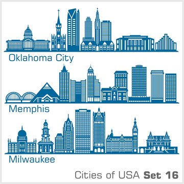 Cities of USA - Oklahoma City, Memphis, Milwaukee. Detailed architecture. Trendy vector illustration.
