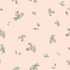 Ditsy floral seamless vector pattern in muted vintage colors. Romantic feminine surface print design. Great for fabrics, stationery and packaging.