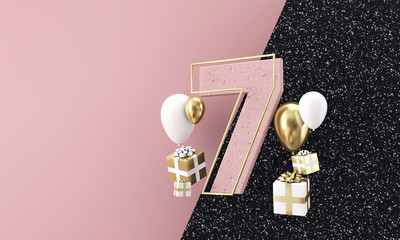 Happy 7th birthday party celebration. Modern marble composition 3D Render
