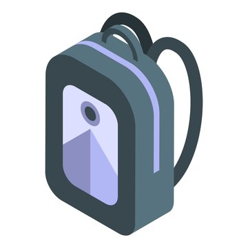 Student backpack icon. Isometric of student backpack vector icon for web design isolated on white background
