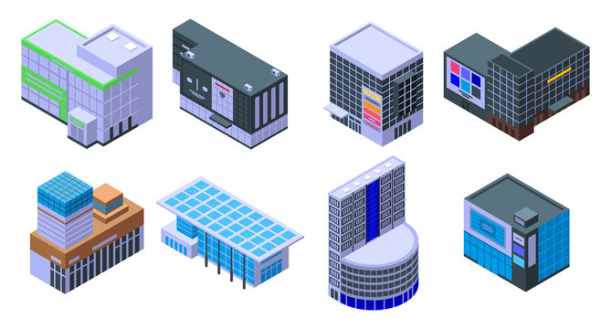 Mall icons set. Isometric set of mall vector icons for web design isolated on white background