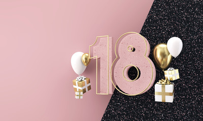 Happy 18th birthday party celebration. Modern marble composition 3D Render Wall mural