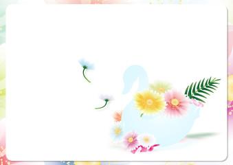 スワンの器にガーベラのカラフルな花のイラスト横スタイル背景素材