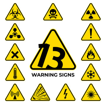 Set of hazard warning signs. 13 black yellow triangle warning safety and caution signs. Information security hazard vector symbol, icon. Baker's dozen. Vector illustration