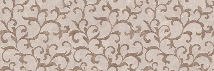 Ornament pattern with beige marble stone texture, cement decorative design