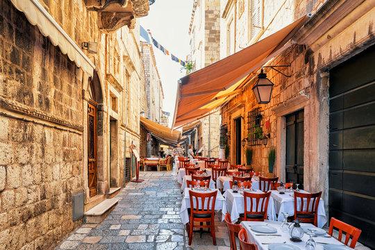 Open Street terrace cafe in Dubrovnik