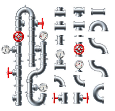 A set of pipes and water or sewage plumbing or perhaps industrial gas pipe system gauges and fittings