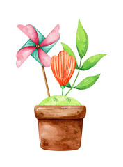 Flowerpot with a windmill, lawn, leaf and a flower in it. Watercolor picture isolated on white background.