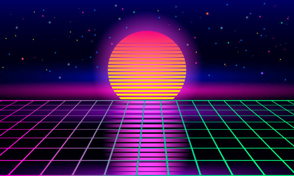 Retro sci-fi background of the 80s and 90s with sunrise or sunset retro sun. Futuristic synthesizer retro wave.