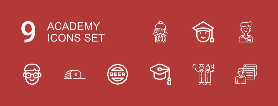 Editable 9 academy icons for web and mobile