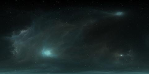 360 degree HDRI space background and nebula. Environment 360 HDRI map. Equirectangular projection, spherical panorama