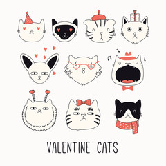 Foto op Plexiglas Illustraties Collection of cute funny doodles of different cats faces, with hearts. Isolated objects on white. Hand drawn vector illustration. Line drawing. Design concept for Valentines day card invite, print.