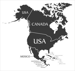 North America continent map with countries and labels black