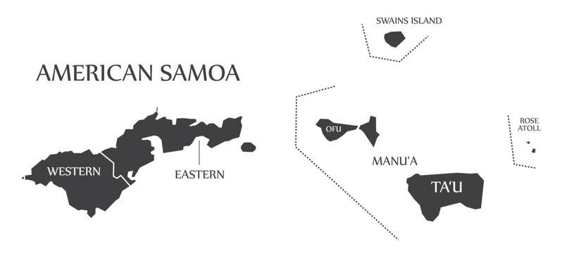 American Samoa islands map labels black