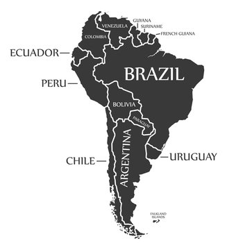 South America continent map with countries and labels black