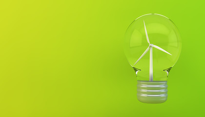 windmill on lightbulb eco concept
